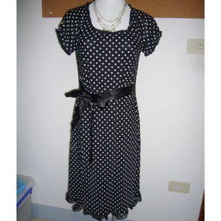 二手~黑色點點洋裝