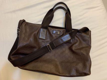 Gucci 經典皮革壓花 手提包 肩背包 側背包 媽媽包 旅行包