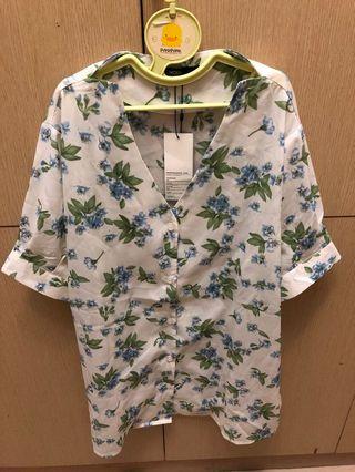 OB嚴選-花卉雪紡襯衫