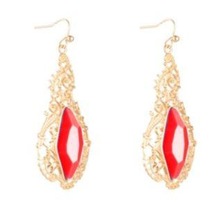 Sze Accessories Filligree Red Tear Drop Earrings In Gold
