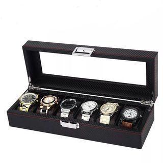 Premium Black Carbon Fibre Luxury Watch Box for six (6) watches