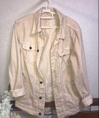 Oversized Beige Denim Jacket