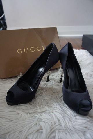 Gucci Raso Serta Crystal Heels