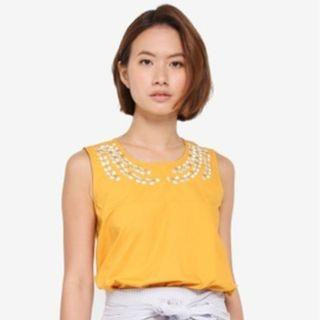 Zalora Yellow Embroidered Neckline Top