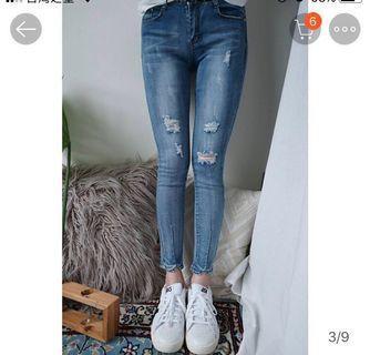 自然色 牛仔褲 偏大碼