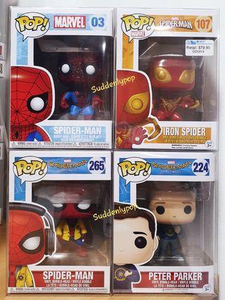 Funko Pop Marvel Spider-Man #03, #107, #224 & #265