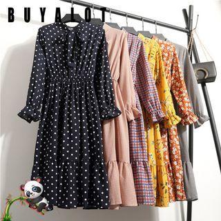 💥HOT💥💘Women Fashion Half Sleeve Bow Tie Pleated Floral Print Dress