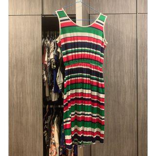 Summer Dress Blue, White, Green & Pink Stripes (Very Good Condition)
