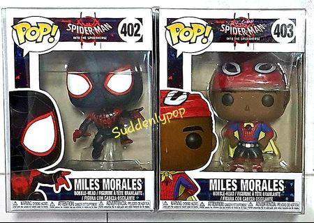 Funko Pop Marvel Spider-Man Into The Spiderverse Miles Morales #402 & #403 (half masked)