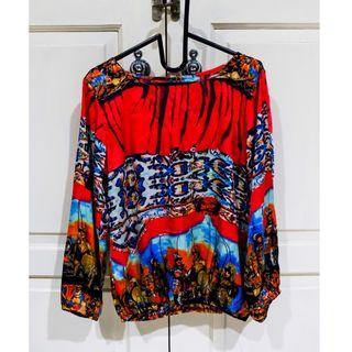 #BAPAU red blouse with drawings / blus merah bergambar / bohemian