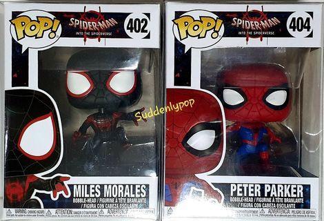 Funko Pop Marvel Spider-Man Into The Spiderverse Miles Morales #402 & Peter Parker #404