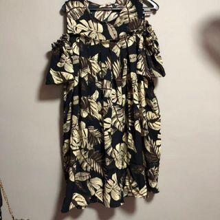 Floral Flowly cold Shoulder Dress