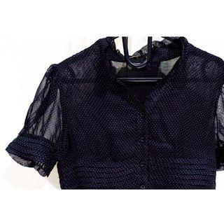 #BAPAU black polkadot blouse with sheer sleeve / blus hitam polkadot