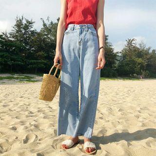 🚚 淺藍寬鬆牛仔褲 直筒高腰夏季