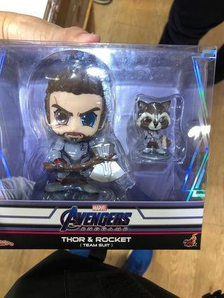 Thor & Rocket Cosbaby Hottoys  Marvel Avengers 4 End Game 復仇者聯盟 雷神&火箭 A4 Avenger Hot toys