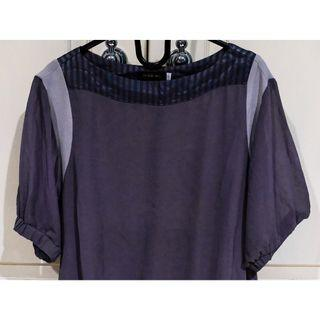 #BAPAU grey blouse with cape sleeve / atasan abu-abu