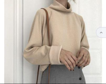 Turtle neck sweater beige color