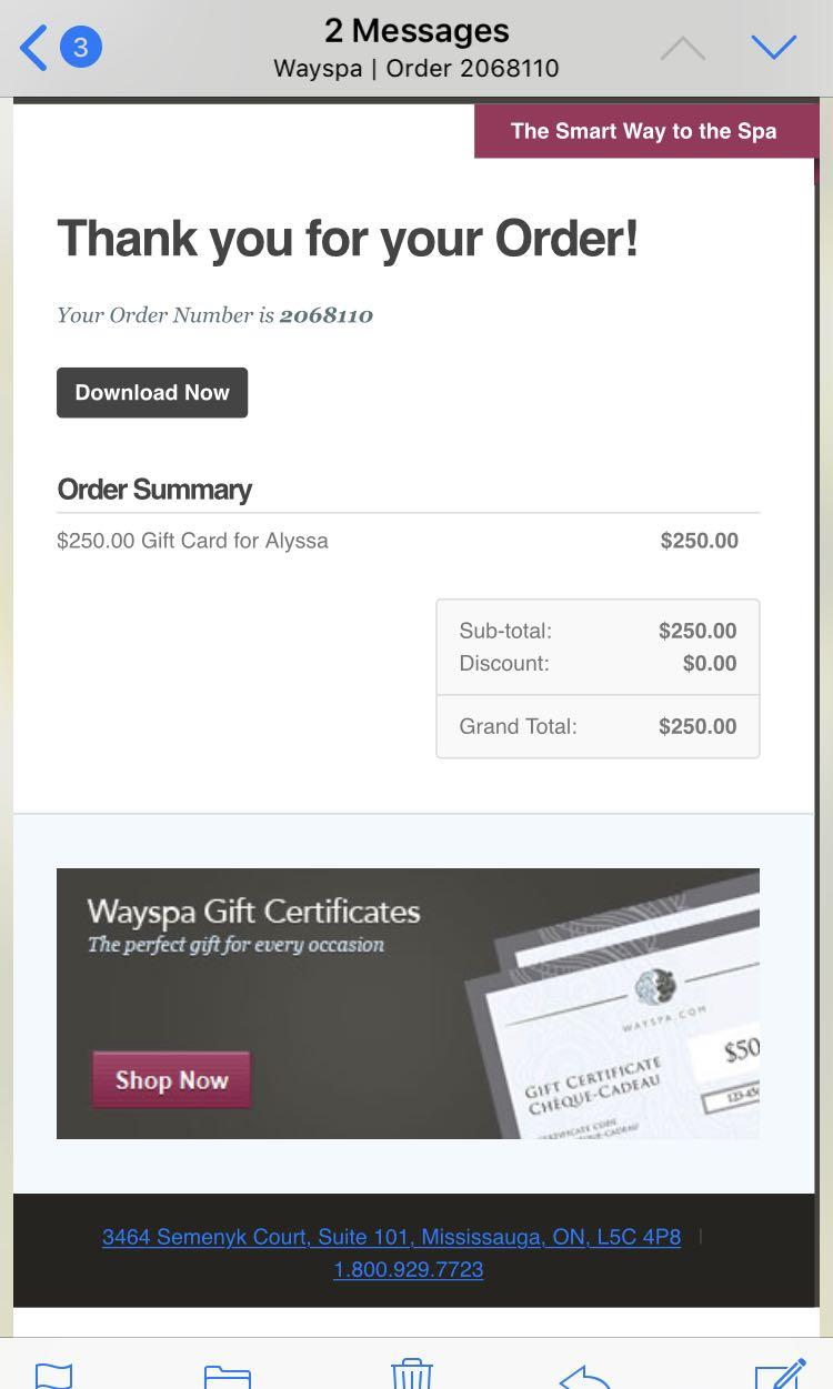 $250 way spa gift card