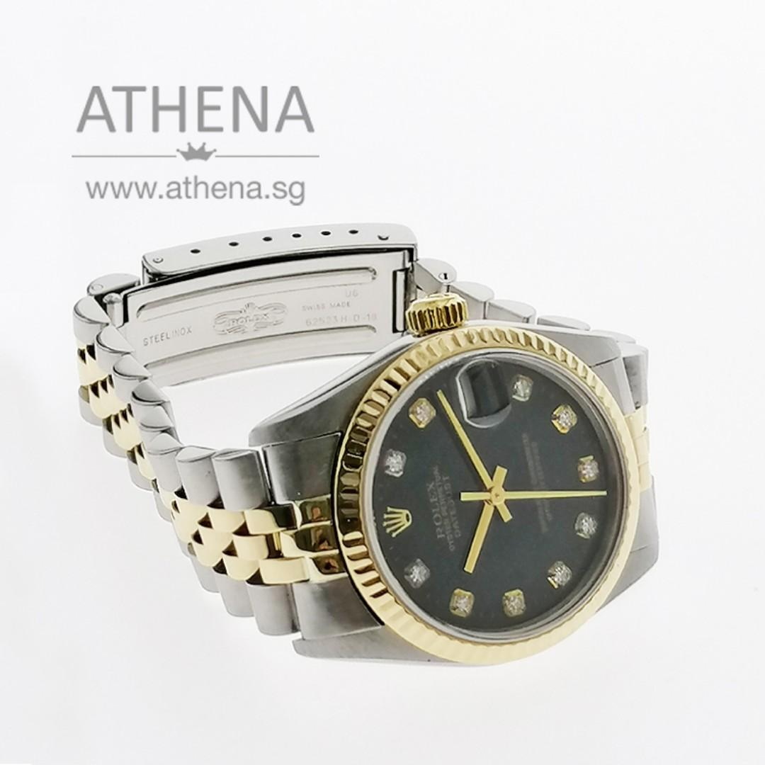 """ROLEX """"HALF-GOLD"""" MID-SIZE OYSTER PERPETUAL DATEJUST """"A"""" SERIES WITH """"BLACK DIAMOND DIAL"""" 78273 JWWRL_1358"""