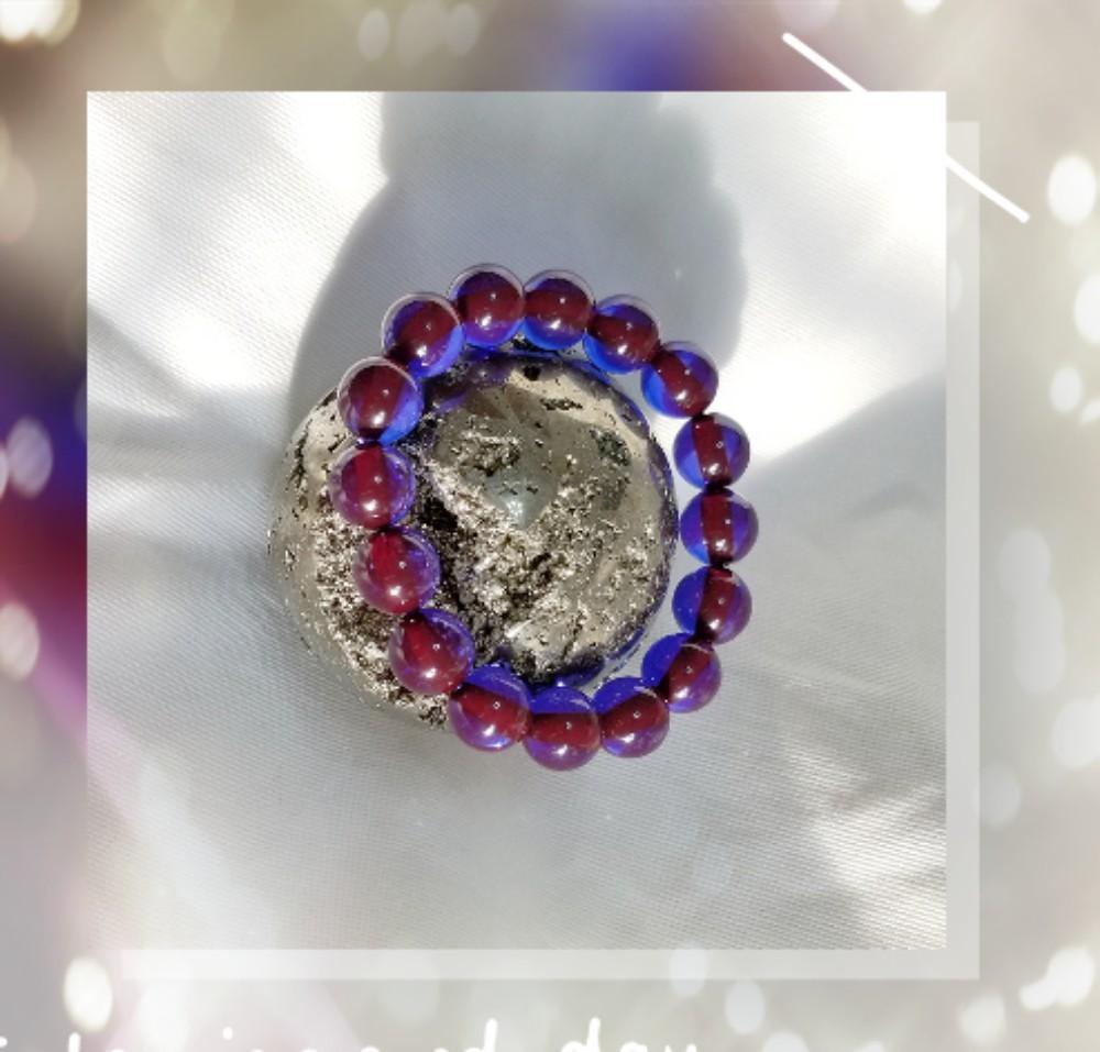 全新品 原產地 伊朗 12mm 藍光藍精靈蜜蠟圓珠 手串 一條 QB-151