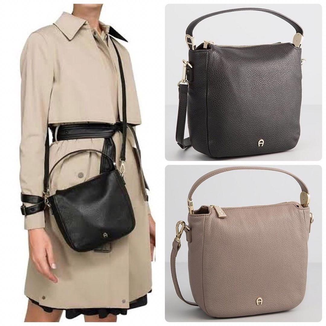AIGNER ROMA CROSSBODY SMALL Size : 20 x 18 x 7 cm BLACK and TAUPE