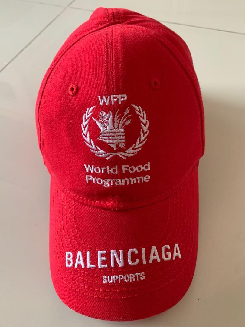 d343359b Balenciaga world food programme red cap, Men's Fashion, Accessories ...
