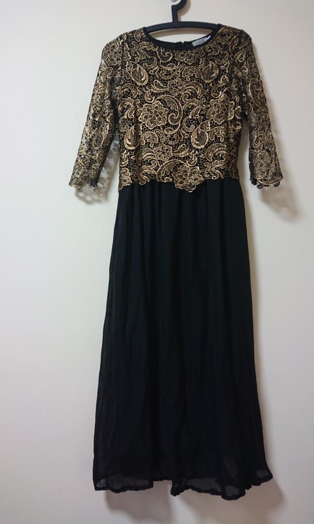 Black and gold Maxi dress