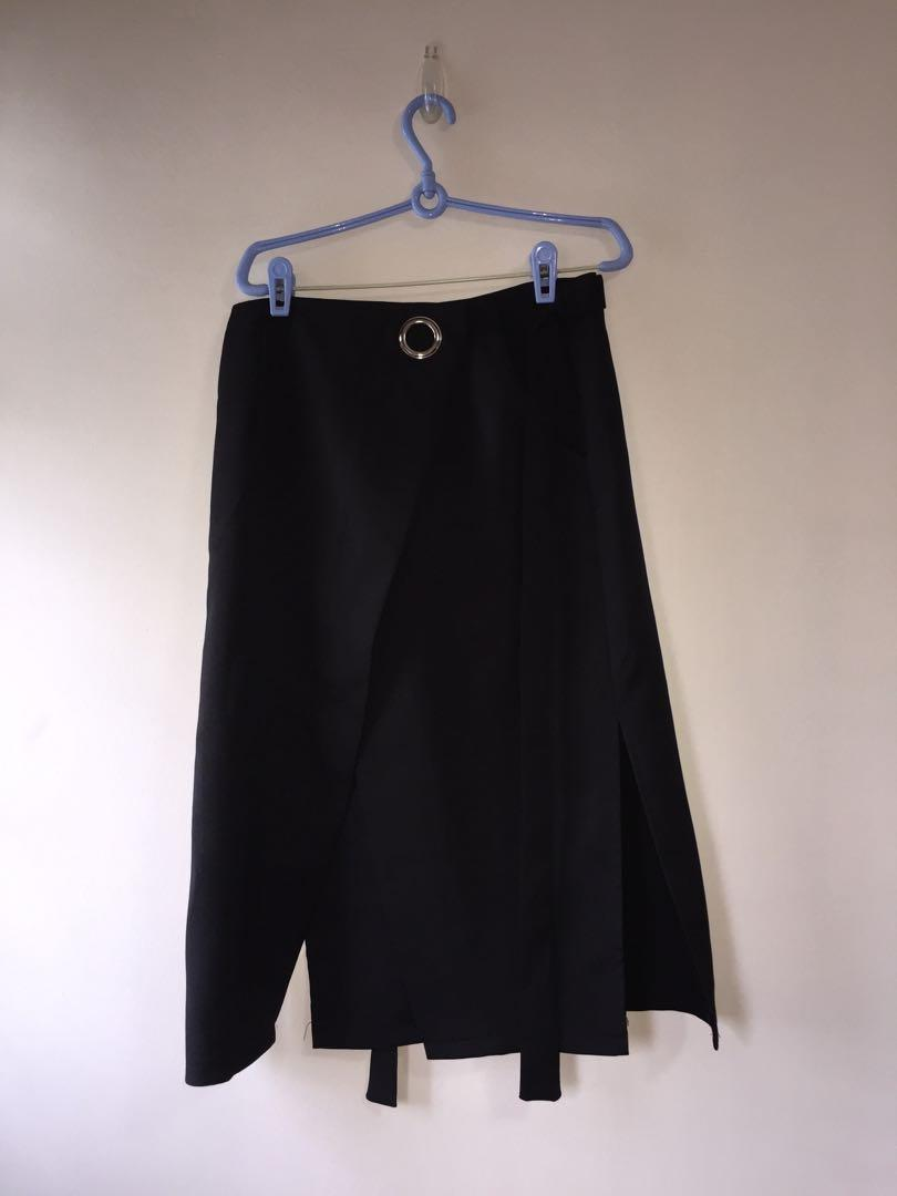 Black Wrap Skirt with Slit