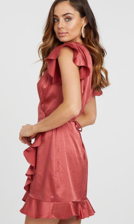 BRAND NEW The Iconic Pink Silky Wrap Dress