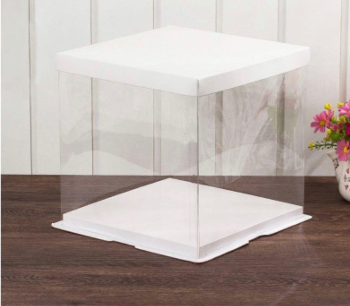Cake Box Clear: White top and bottom - 14""