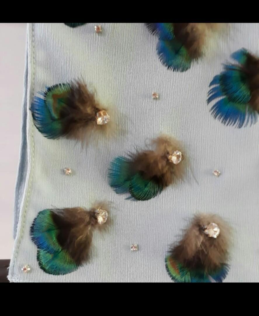 Chiffon Cerep shawl berbatu crystal