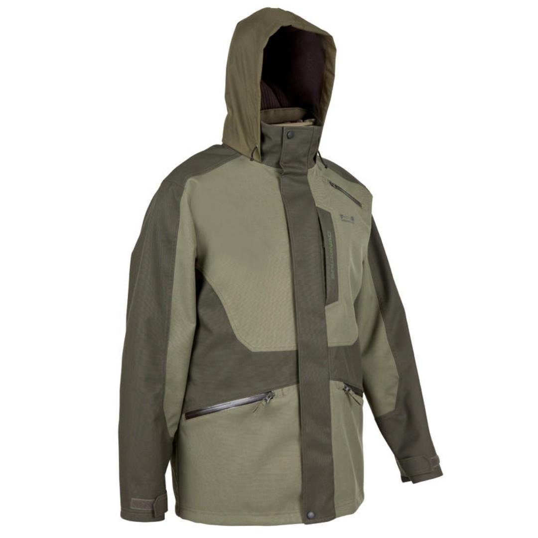 meilleur service dd171 924d1 Decathlon Solognac Waterproof Khaki Jacket