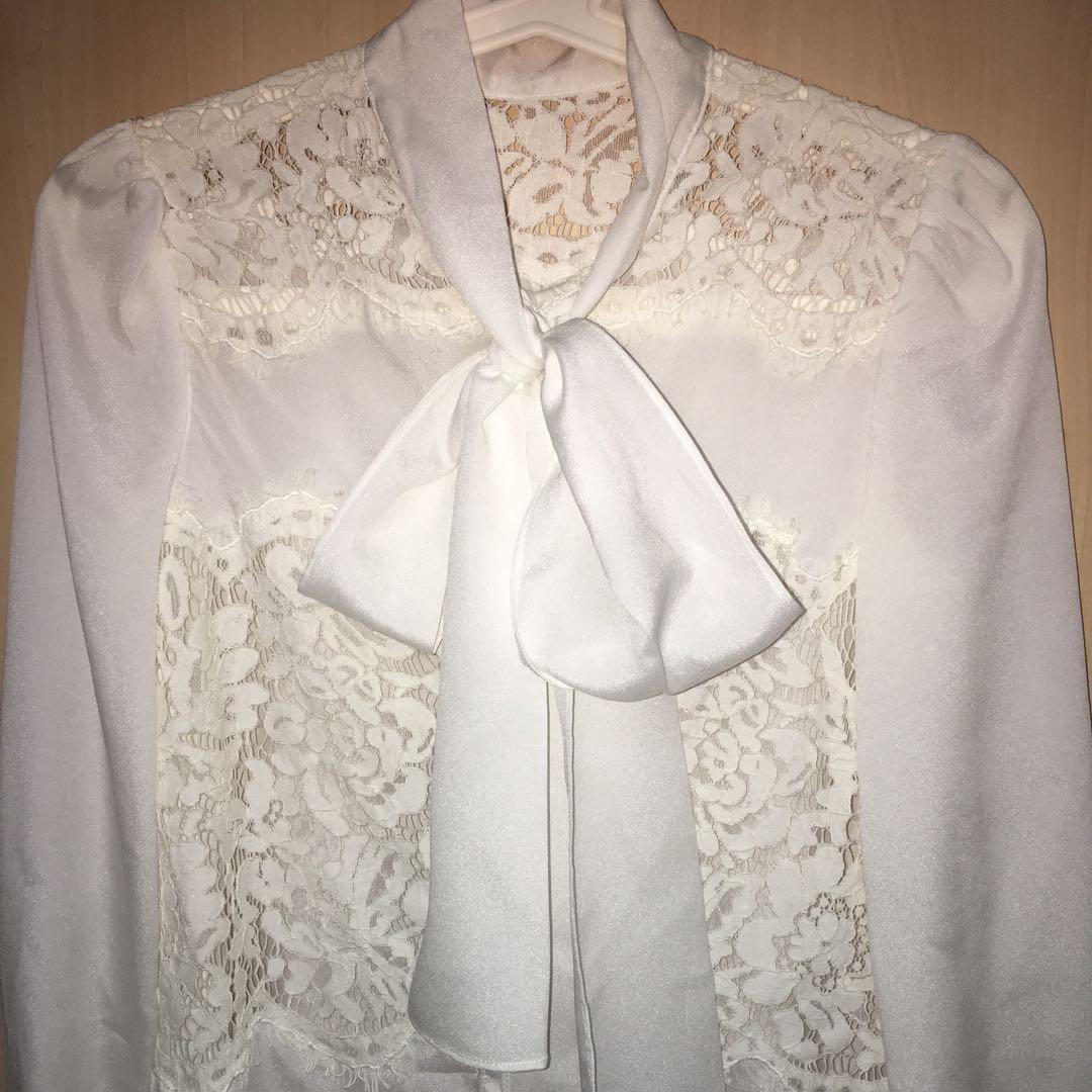 Elegant White Long Sleeve Silk Lace Shirt
