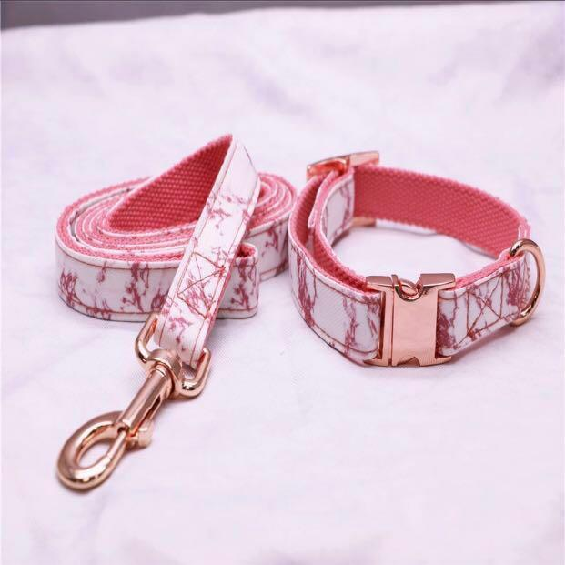HuppyFluff Dog Leash + Collar in Pink Marble and Rose Gold Hardware