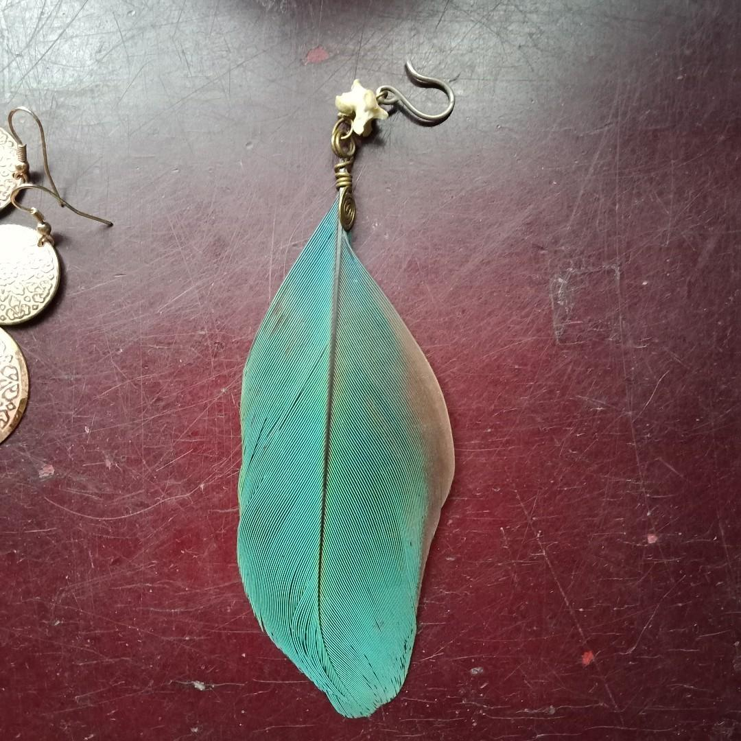 Individual EARING   Unique Boned Spiral Feather Duo-Coloured Stand Out Style