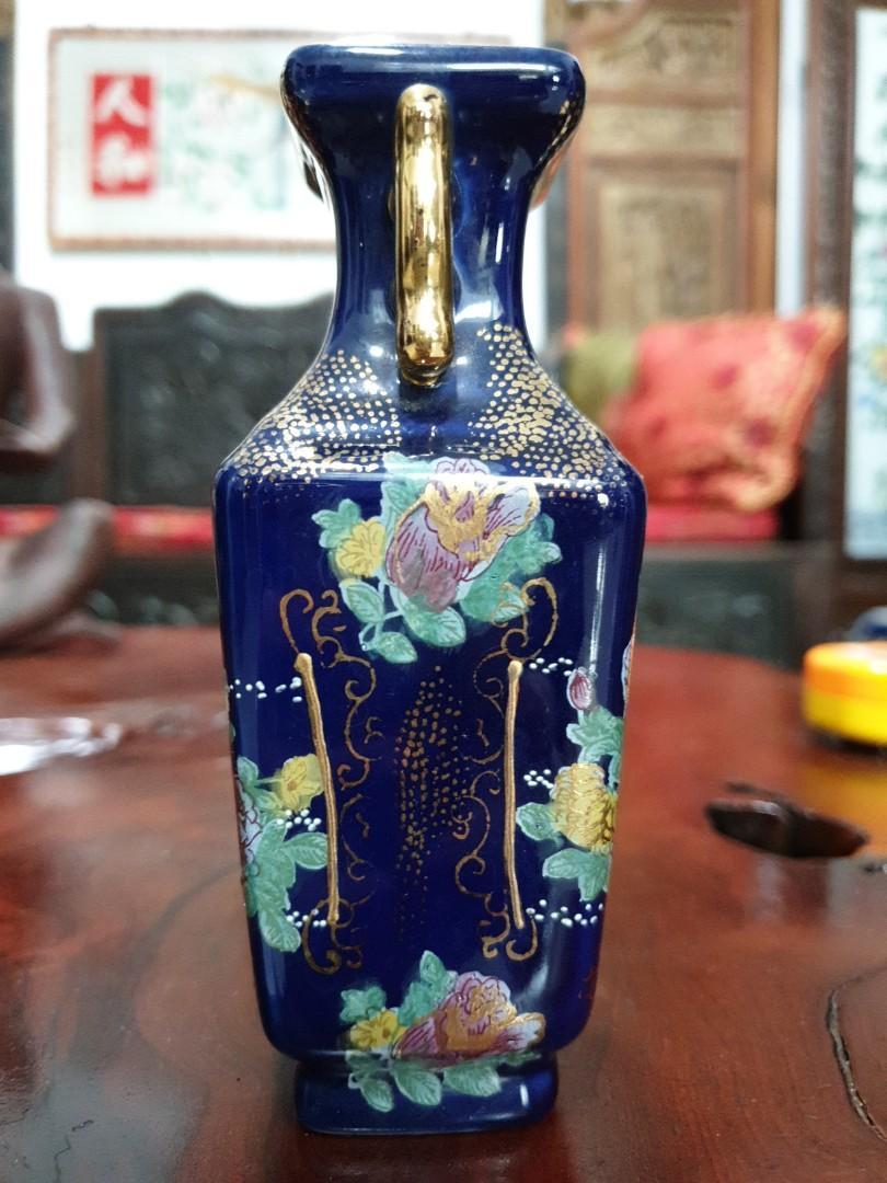 Japanese cobalt blue small vases beautiful vintage