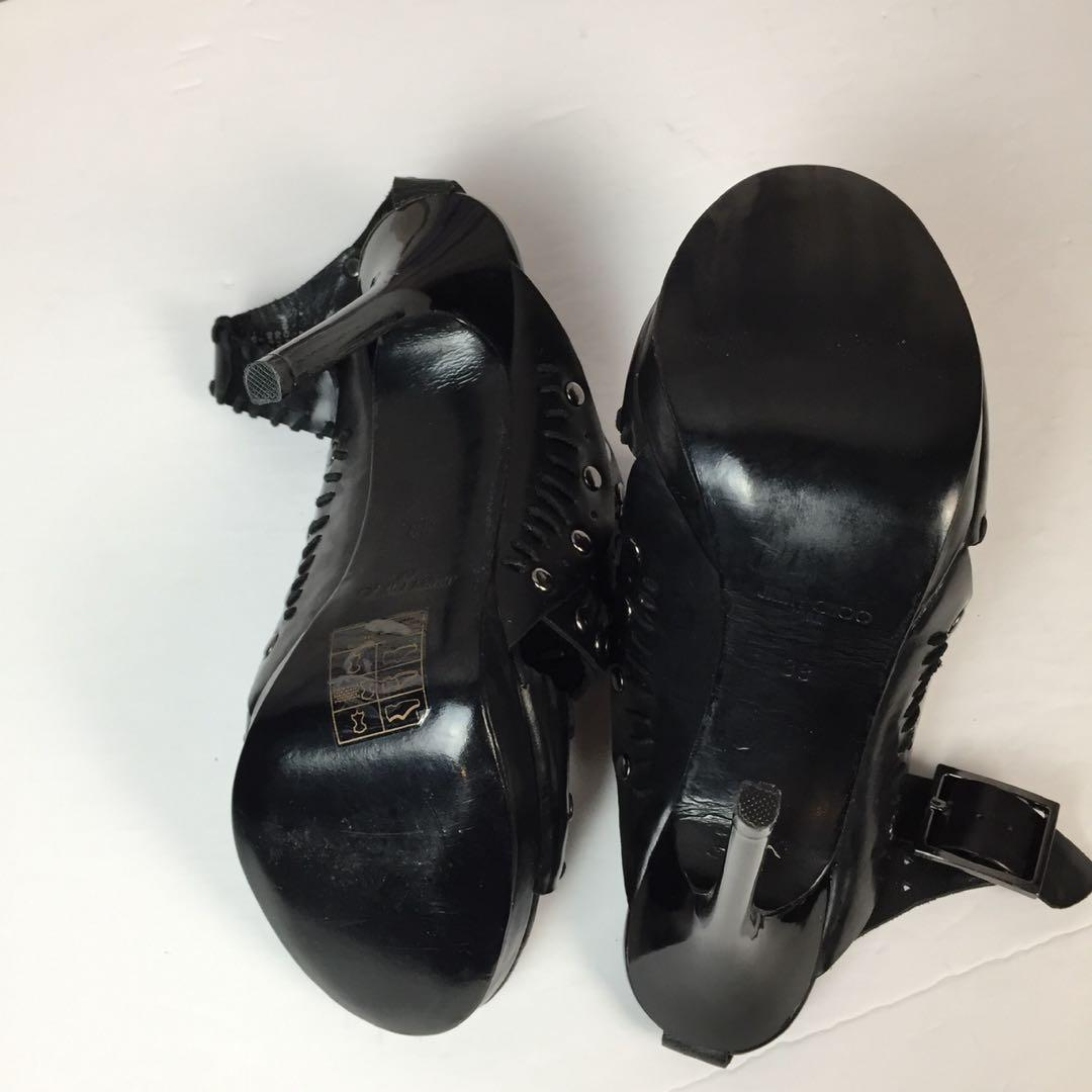 Jimmy Choo for H&M Black Studded Ankle Strap High Heel Size 38 Limited Edition