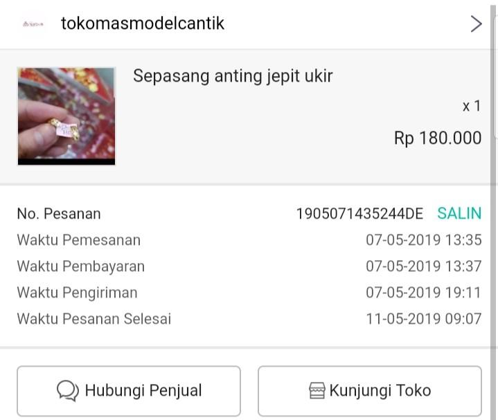 Jual Rugi Anting 0,6 gram kadar 375 checkout by toped