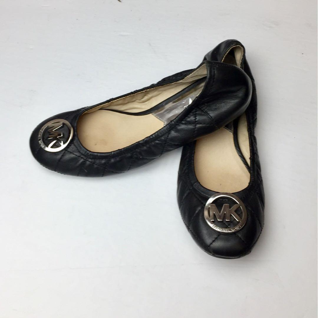 MICHAEL KORS Fulton Size US 6.5 Black  Leather MK Logo Quilted Ballet Flats