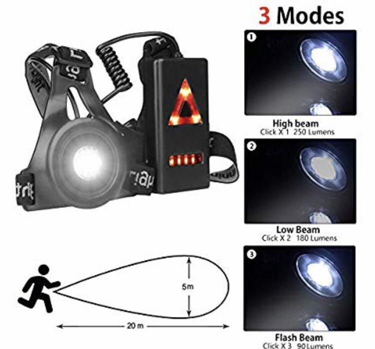 Night Running Light Neolight USB Rechargeable LED Chest Light Waterproof Torch