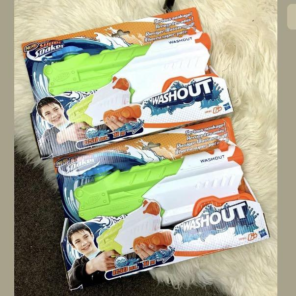 New NERF Super Soaker Washout pair lot green water pistol gun toy blaster gift