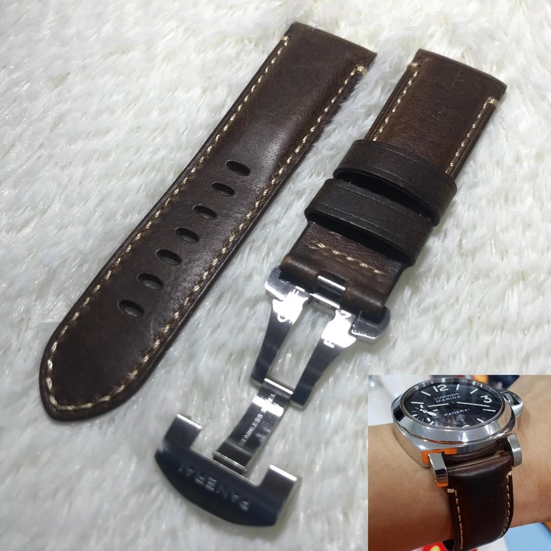 Panerai Aftermarket Distressed Dark Brown Calf Leather Strap with Deployant