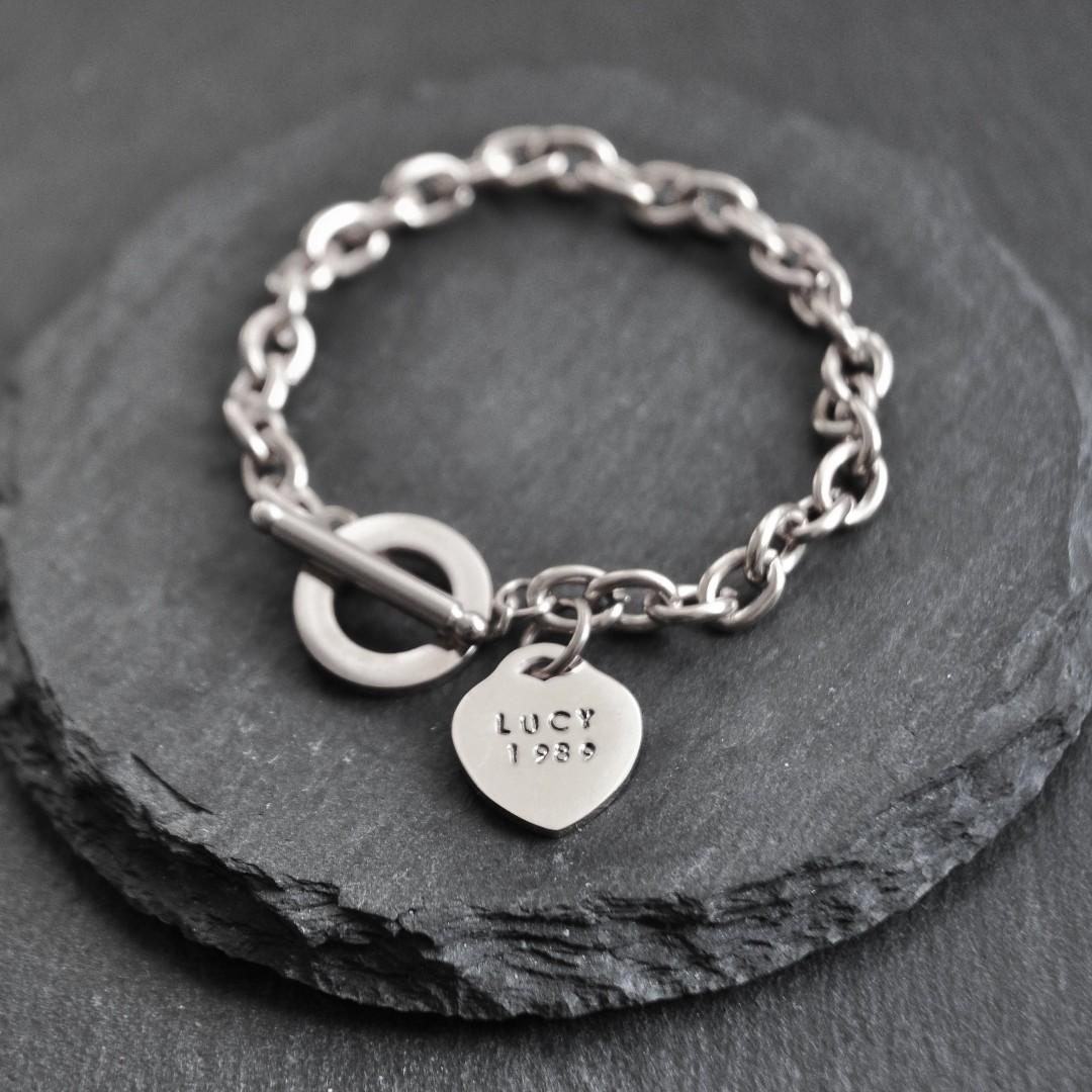 Personalised Hand-stamped Heart Charm Toggle Bracelet