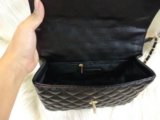 Premium authentic CHANEL BOXY Top Handle Lambskin Chain Leather Sling Bag Black GHW