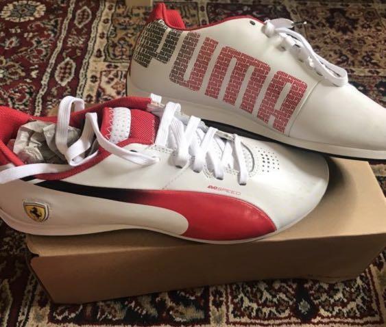 PUMA Men's Evospeed 1.3 Lo Ferrari Shoe, White/Rosso Corsa