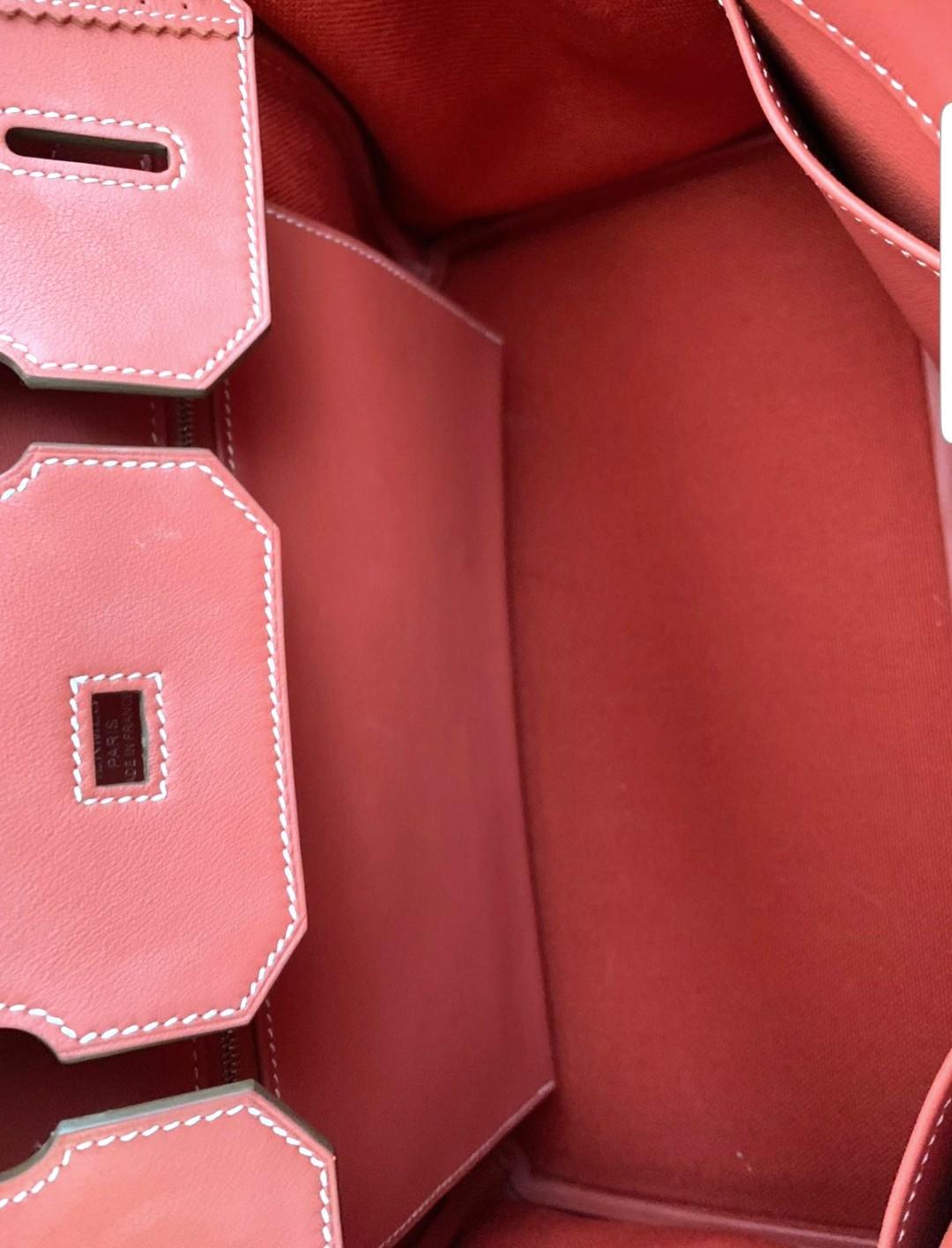 Rare Hermes Limited Edition 35cm Sanguine Swift Leather & Toile Ghillies Birkin Bag with Palladium Hardware