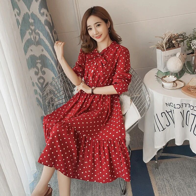 ba5753eafe9 Red Polka Dot nursing Dress, Babies & Kids, Nursing & Feeding on Carousell