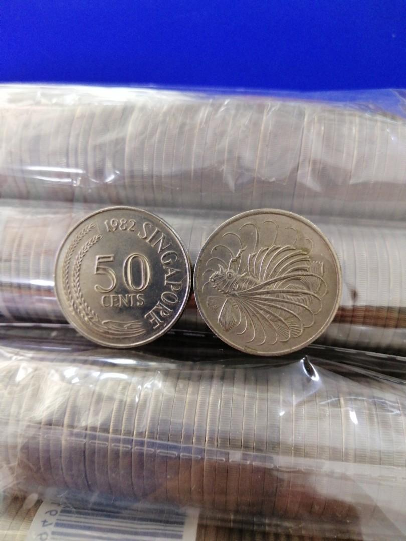 Singapore Lion Fish 50cts used Coin (Take all 800pcs = 55cts each)