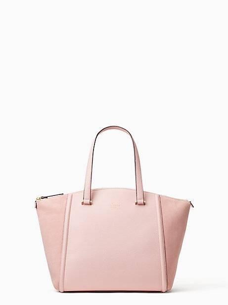 Tas Wanita Kate Spade Lewis Street Drive Alanie Rose Jade Pink Leather & Suede Shoulder Tote Bag