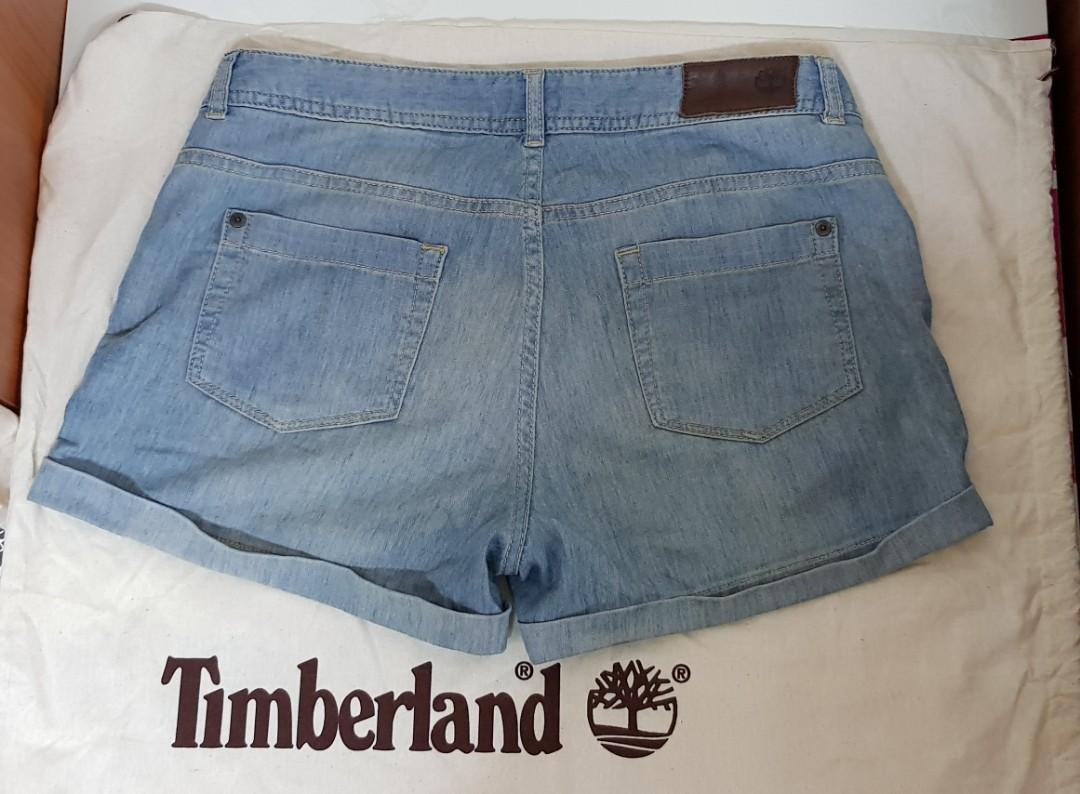 Timberland丹寧牛仔刷色女生27腰短褲